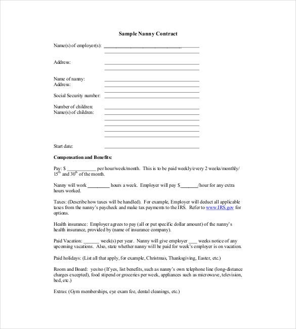 sample nanny contract template pdf