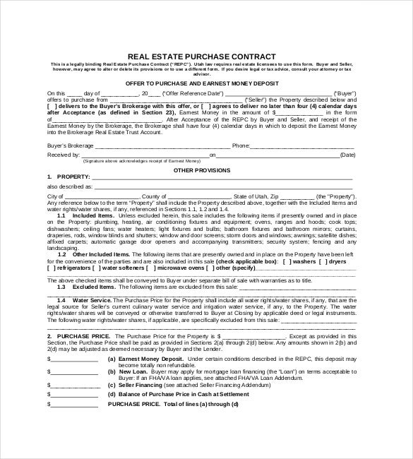 real estate purchase contract pdf format