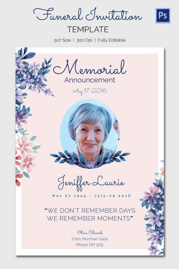 Floral Funeral Invitation Card Template
