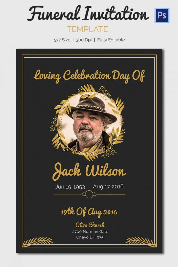 Memorial Photo Invitation Card – Elegant Black