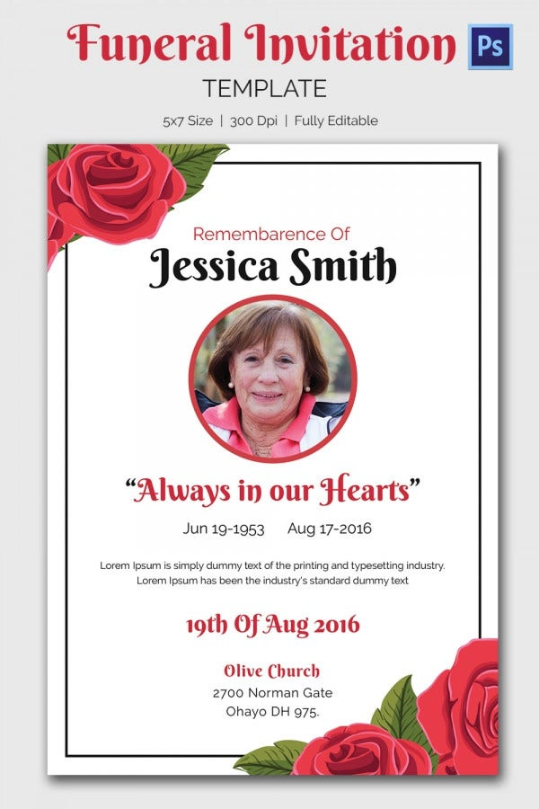 Template For Memorial Service Invitation – Invitation to a Funeral