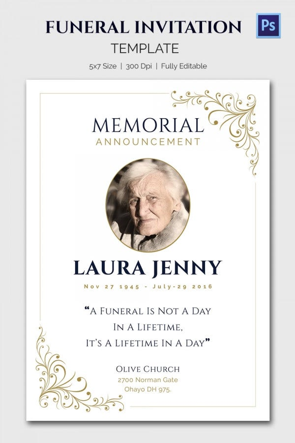 Classic Memorial Announcement Invitation Template