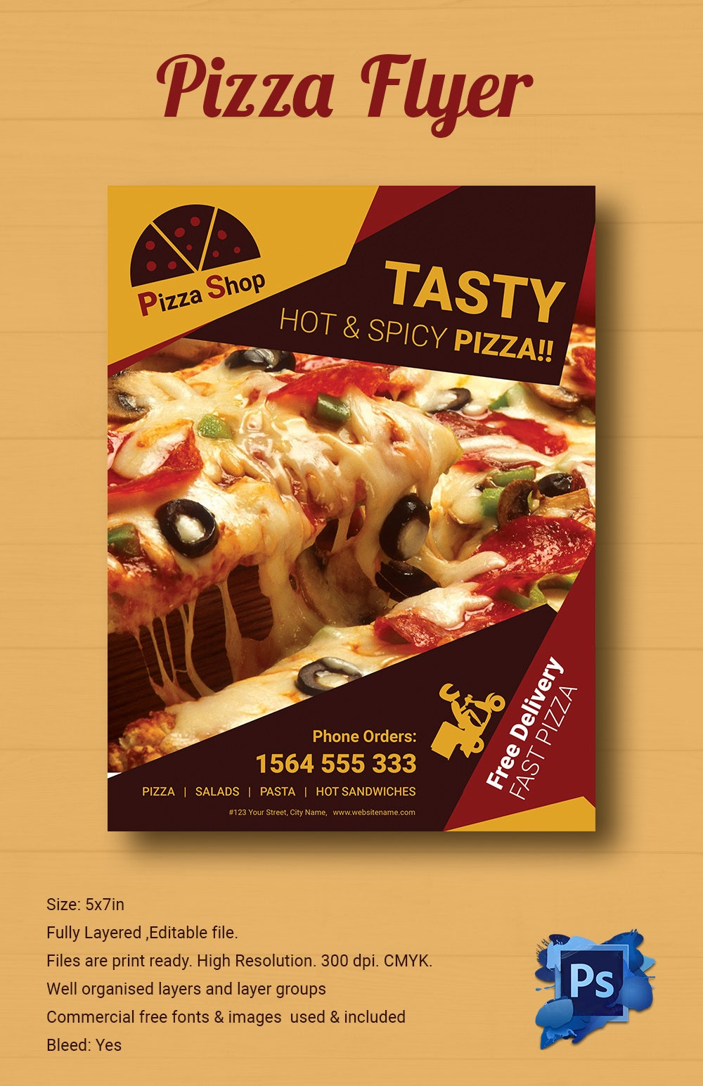 hot spicy pizza flyer template