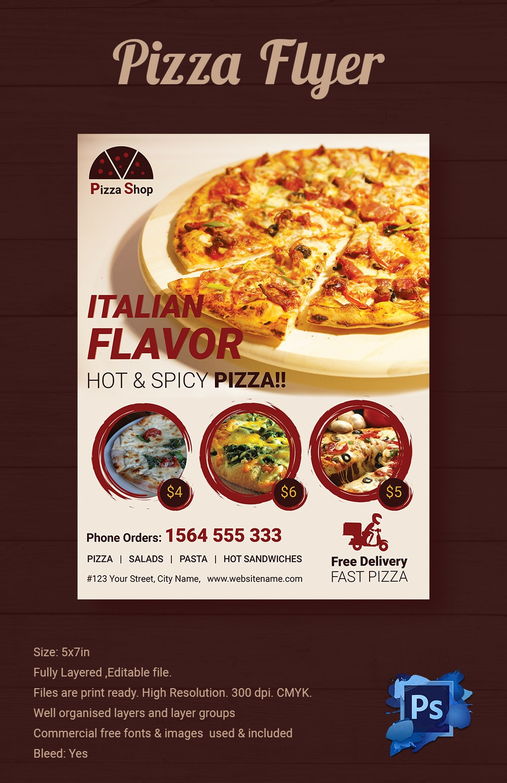 pizza flyers psd ai vector eps format italian flavor pizza shop flyer template