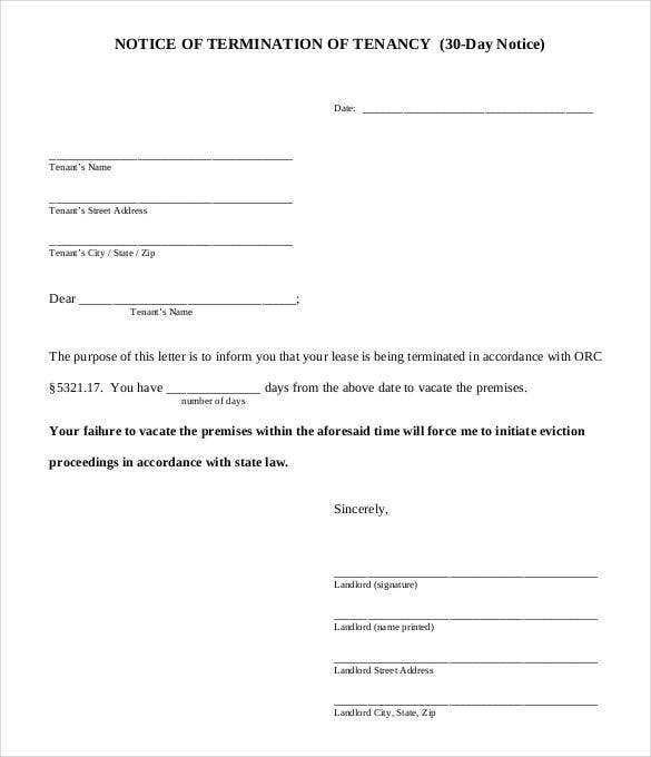 30 day lease termination letter pdf - Notice Of Lease Termination