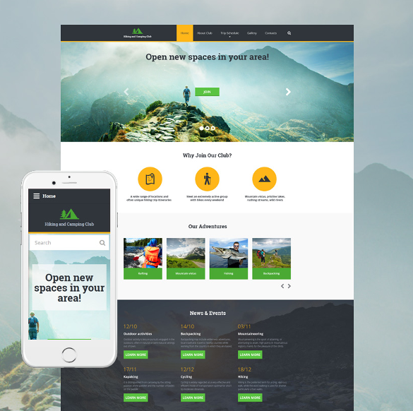 hiking responsive html5 template