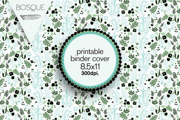 printable flowers design binder cover template download