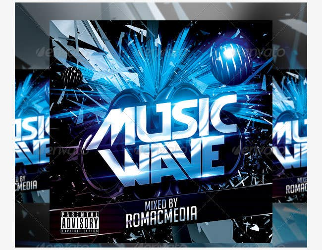 music wave cd cover template psd format