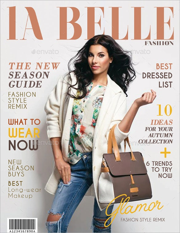 premium la belle magazine cover template psd design