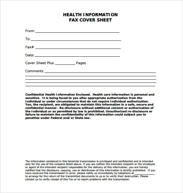 health information fax cover sheet template pdf format
