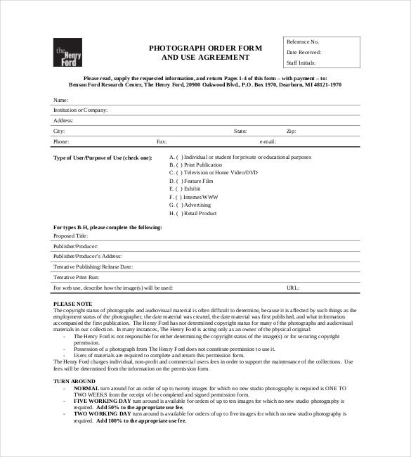 photography order form template free download