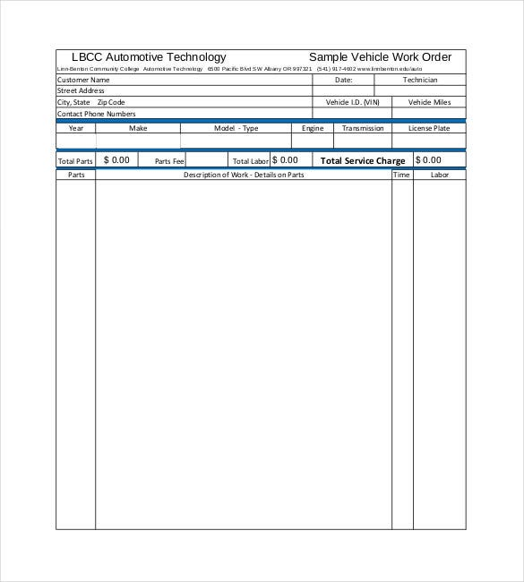 sample automotive work order template pdf download