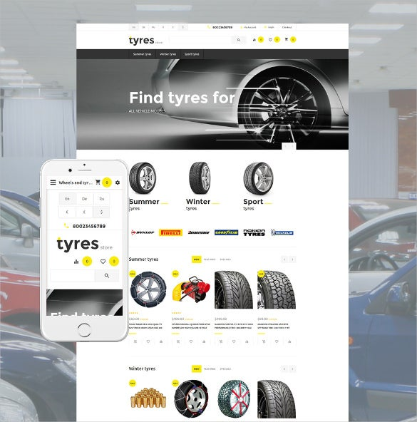 tyres store responsive opencart template