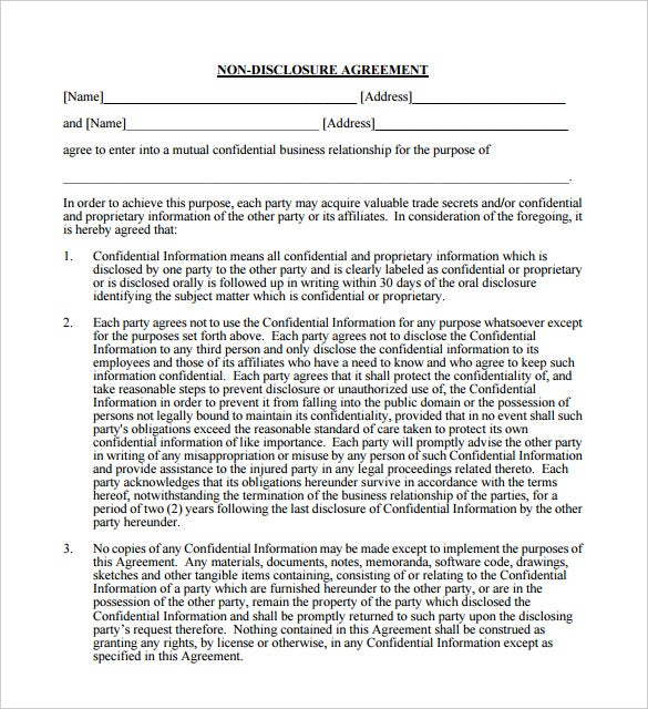 Superior Mutual Non Disclosure Agreement Template PDF Format Throughout Mutual Agreement Template