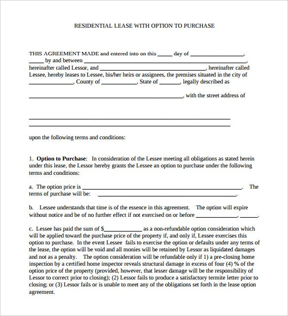 purchase option with residential lease agreement