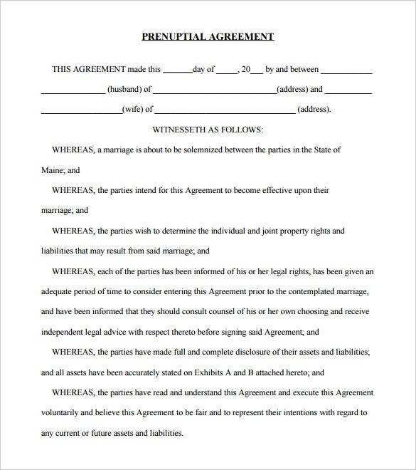 sample blank prenuptial agreement pdf download
