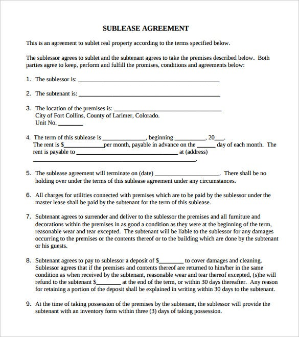 Printable Commercial Sublease Agreement PDF Download  Agreement Template Free