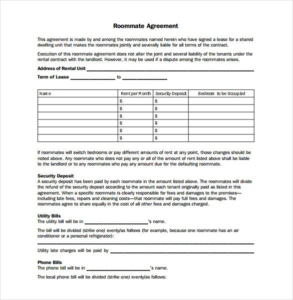 sample sharing roommate agreement template printable