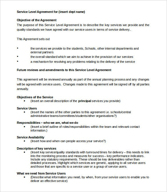 departmental service level agreement template doc download