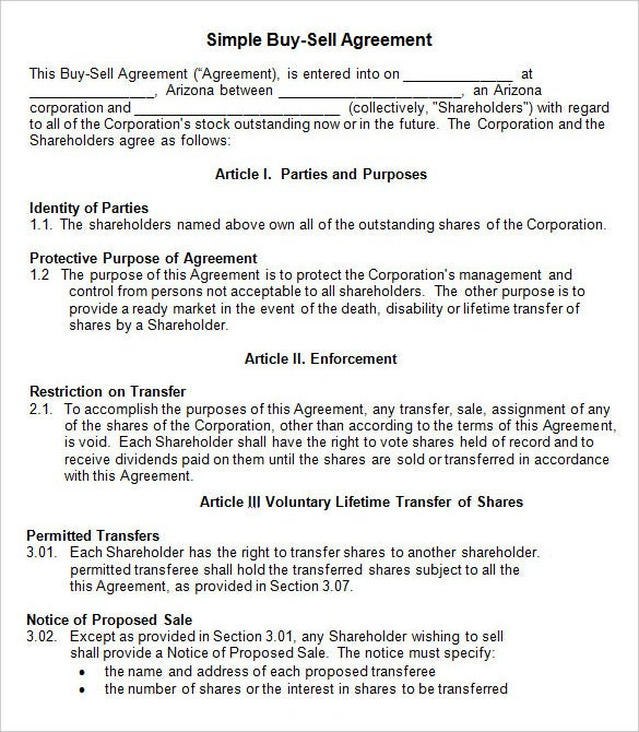 Simple Share Buy Sell Agreement Template Word Format  Free Agreement Template