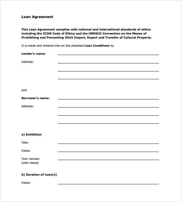 company standard loan agreement template free download