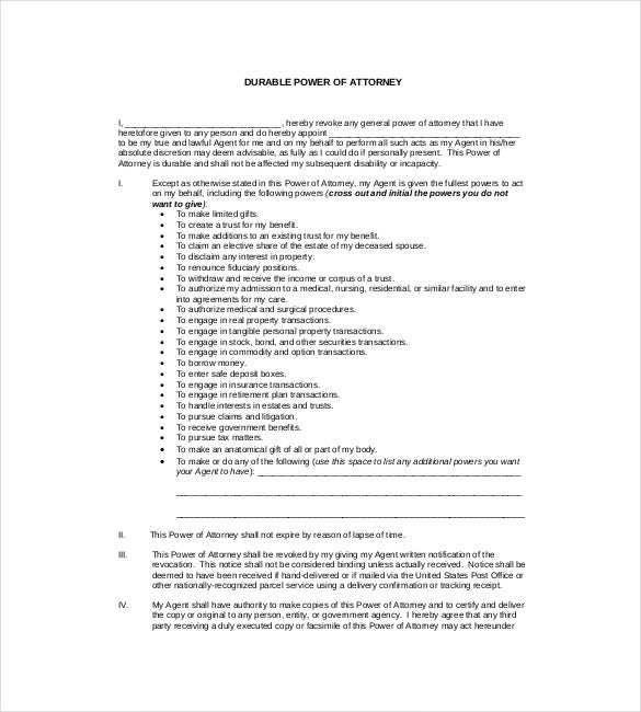 durable general power of attorney pdf format