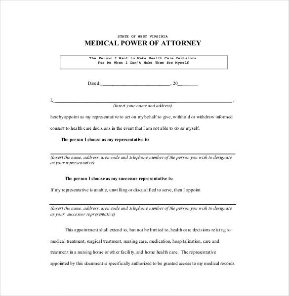 sample medical power of attorney pdf file