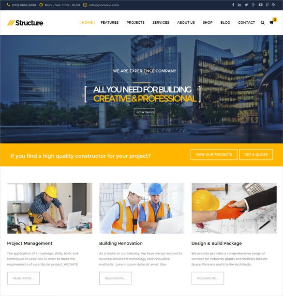 structure construction responsive virtuemart template