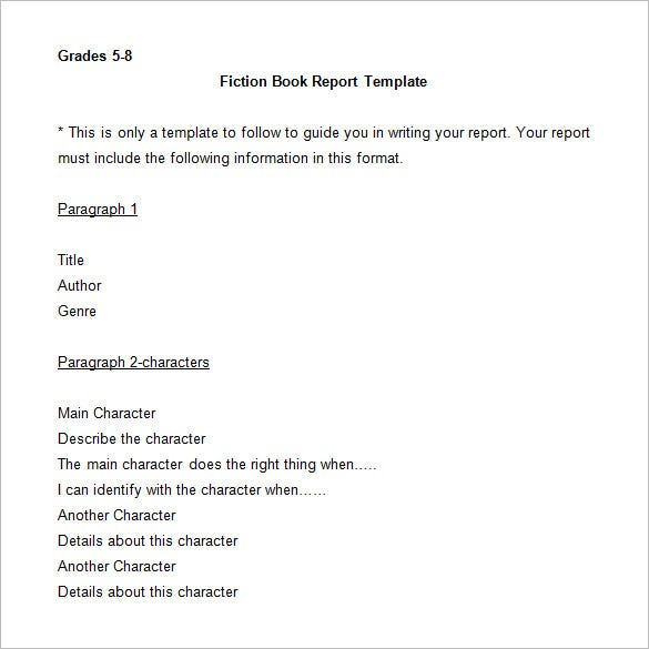 fiction book report template word doc download