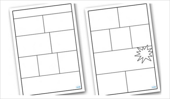 11 book template doc excel ppt pdf psd free for Printable blank comic strip template for kids