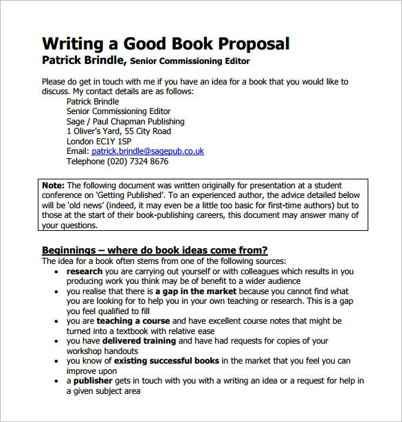 writing a good book proposal template pdf printable
