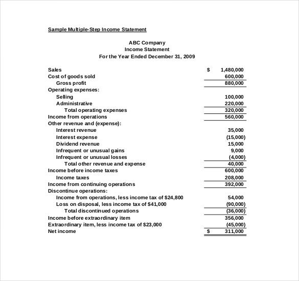Great Sample Multiple Step Income Statement PDF Download To Income Statement Template Word