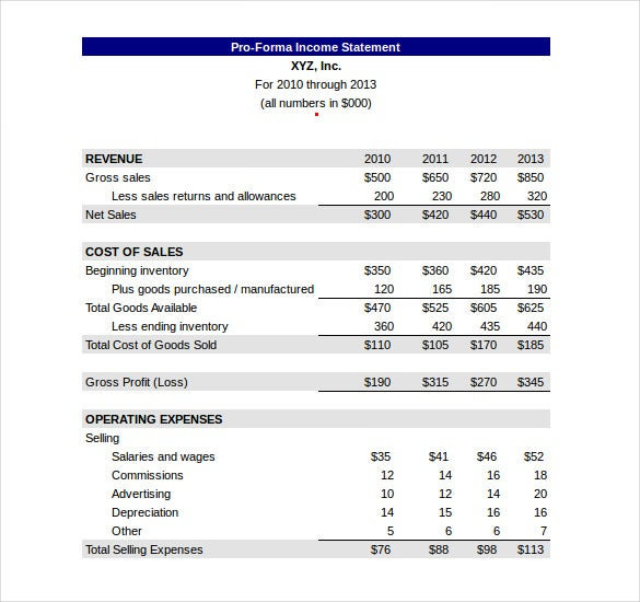 free pro forma income statement excel format