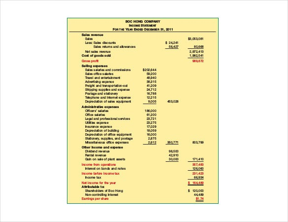 sample traditional income statement pdf file