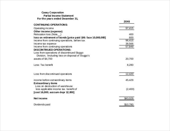 casey corporation partial income statement pdf format download