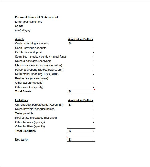 Income Statement Template 15 Free Word Excel PDF Format – Personal Financial Statement Template