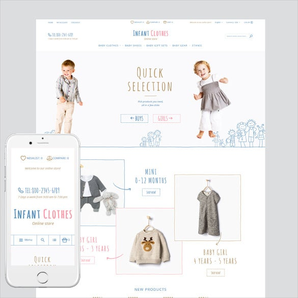 infant clothes magento php theme
