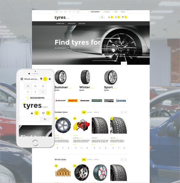 tyres store opencart php template