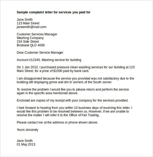Services Complaint Letter Template Word Doc Download  Proper Complaint Letter Format