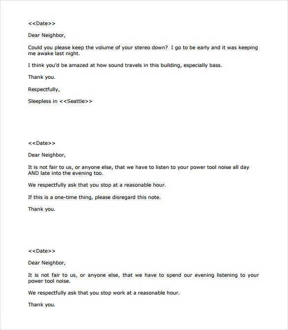 general noise letter template sample pdf download