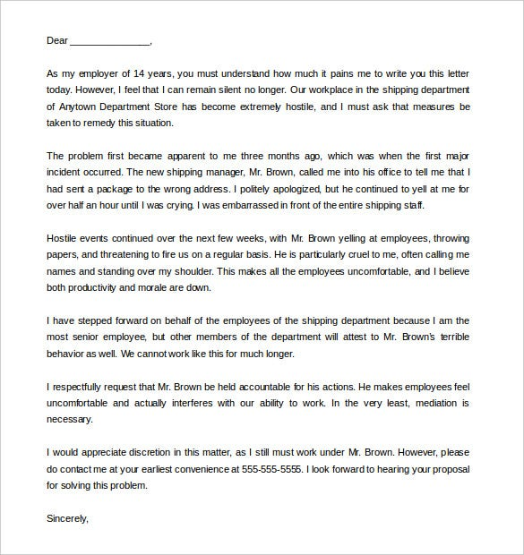 Complaint letter 10 free word pdf format download free download sample blank hostile work environment complaint letter expocarfo Choice Image