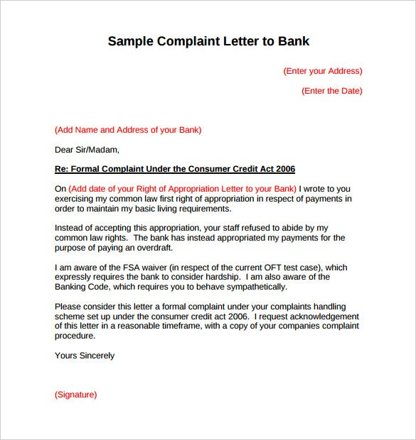 Letter Format Used In Banks. Sample Complaint Letter to Bank PDF Format  10 Free Word Download