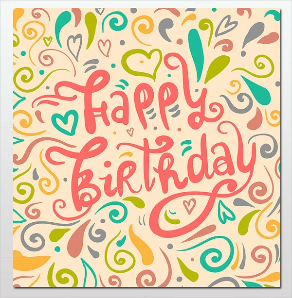 typography style happy greeting birthday card