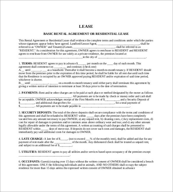 Apartment Rental Agreement Sample Sample Lease Agreement Form