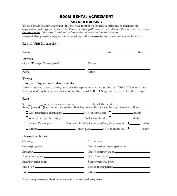 Room For Rent Contract. Free Room Rental Agreement Template Pdf
