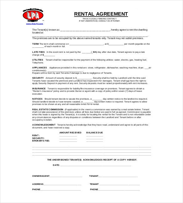 Rental Agreement Template 20 Free Word Excel PDF Documents – Tenant Agreement Form Free