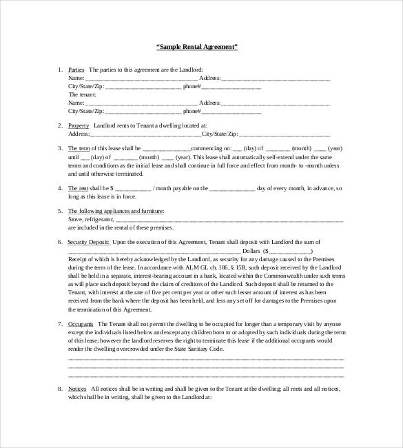Rental Agreement Template 20 Free Word Excel PDF Documents – Download Lease
