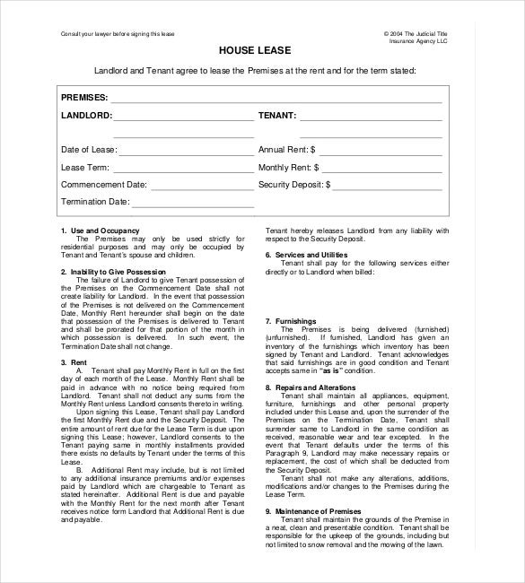 Printable House Rental Agreement Template  Free Lease Agreement Template Word Doc