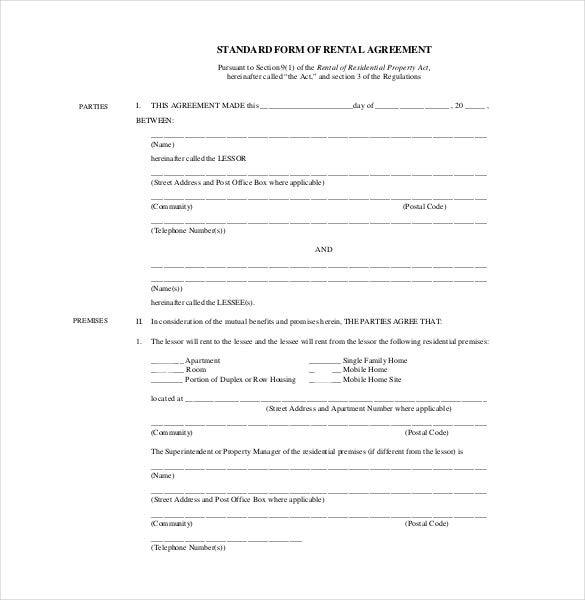 standard form of rental agreement pdf fle