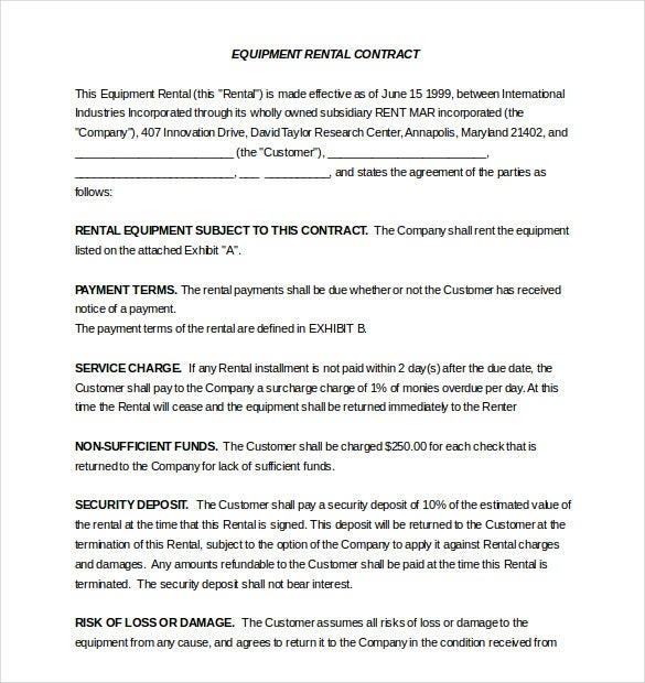 Rental Agreement Template 20 Free Word Excel PDF Documents – Equipment Rental Agreement